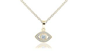 Swarovski Elements Evil Eye Pendant Necklace in 14K Gold