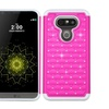 Insten Hard Hybrid Silicone Case W/diamond For Lg G5 Hot Pink/white