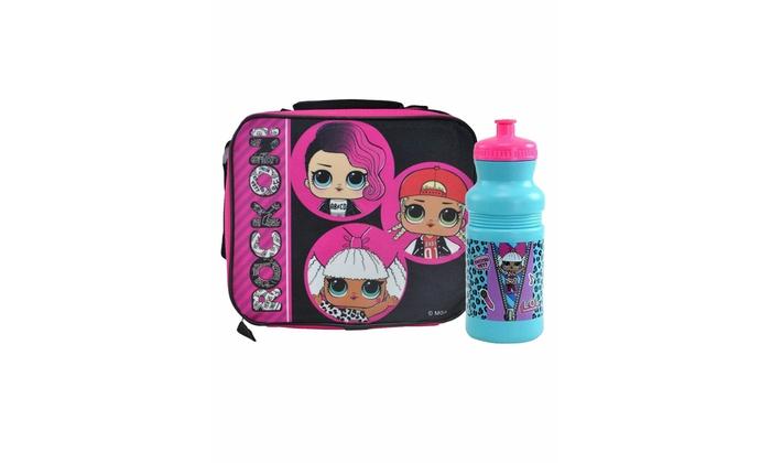 LOL Surprise Insulated Lunch Bag w//Shoulder Strap /& 18oz Water Bottle 2-Pcs Set