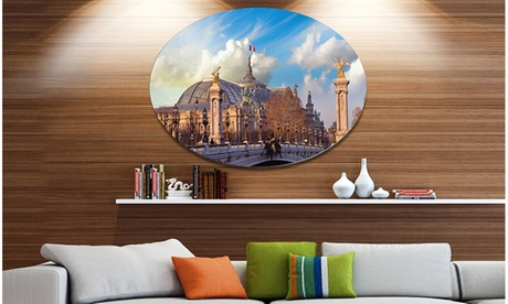 Famous Great Palace in Paris' Disc Cityscape Metal Circle Wall Art 27511869-c610-4aec-a646-2896f2a1cecb