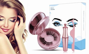 Magnetic Eyeliner with 3D Eyelashes & Tweezers Kit (2 pairs)