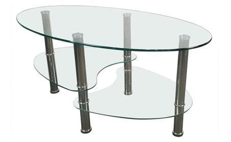 Modern Tempered Glass Oval Side Coffee Table Shelf Chrome Base ca22dfda-b14c-4b63-960d-f28e961cc133