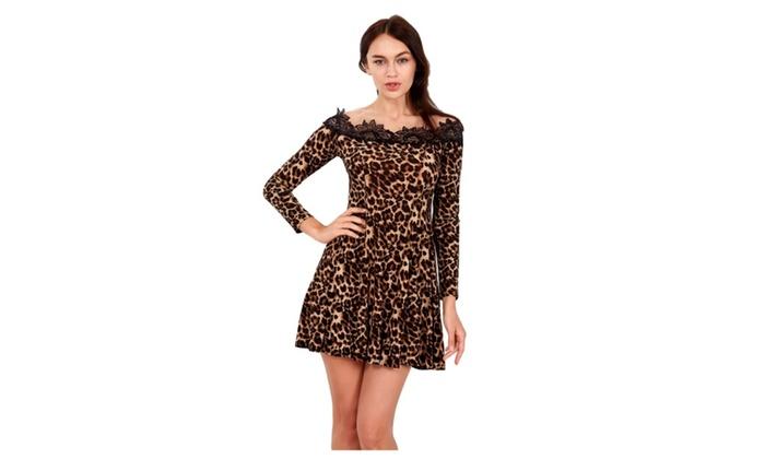 Women Long Sleeve Lace Leopard Off Shoulder Dress