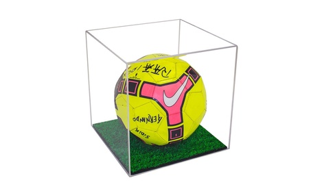 Acrylic Full Size FIFA Soccer Ball Display Case with Turf Floor 1d4d2aac-d654-4c16-a2dc-12dc6939fef9