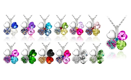 KATGI 18K White Gold Lucky Charm Crystal Four Leaf Clover Multi Colors Pendant Necklace