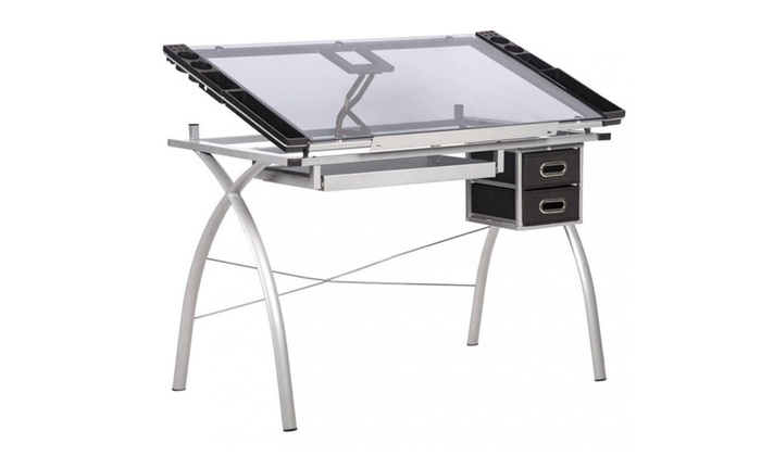 Superb Drawing Desk Station Tempered Glass Adjustable Drafting Table W Drawe Download Free Architecture Designs Lukepmadebymaigaardcom