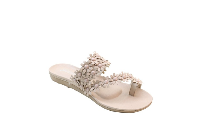 Flowers Toe-ring Wedge Slide Comfort Thick Sole Flat Sandals