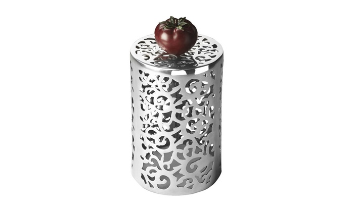Offex Modern Round Accent Table Nickel Light Silver