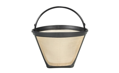 Permanent Reusable #4 Cone Shape Coffee Filter Mesh Basket Gold Tone 5a1791ac-13af-4711-b94b-a7d9452c84f1