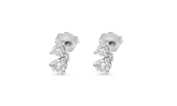 14k White Gold 0 5 Cttw Round Cut Diamond Earrings H I Si1 Si2