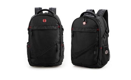 "Travel Backpack School Bag 15"" Computer Laptop Bag Swiss Gear Black b9f913a3-de1c-41f0-9580-372bbf13a5dc"
