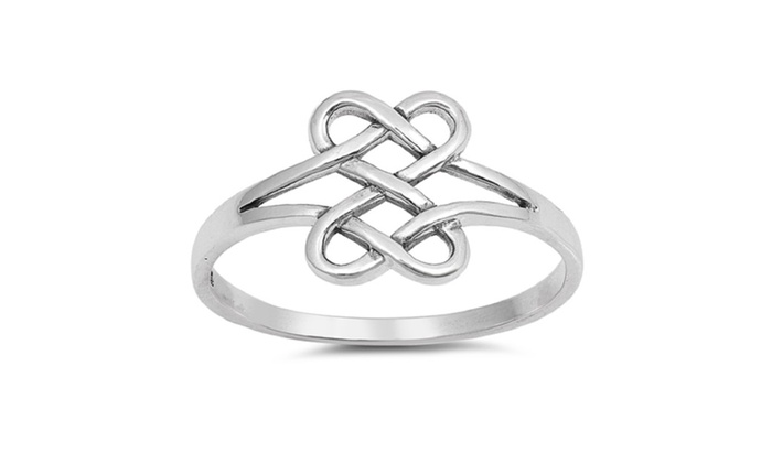 273c026e07f69 Sterling Silver Heart Infinity Knot Promise Ring