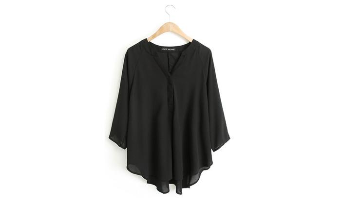 TOM CARRY: Women's Bat Sleeves V-Neck Shirt White - TCWSB732-TCWSB731