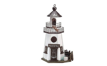 Nautical Two-tiered Walk and Authentic Nest Lighthouse Bird House (Goods Outdoor Décor Bird Feeders & Baths) photo