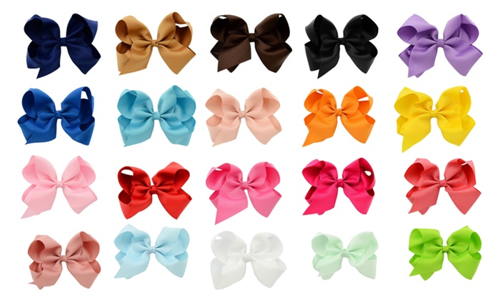 30 Pcs 6 Girls Huge Grosgrain Ribbon Boutique Hair Clip Hair Bows
