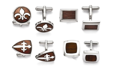 IceCarats Designer Jewelry Stainless Steel Wooden Inlay Mens Cuff Links in Multiple Designs