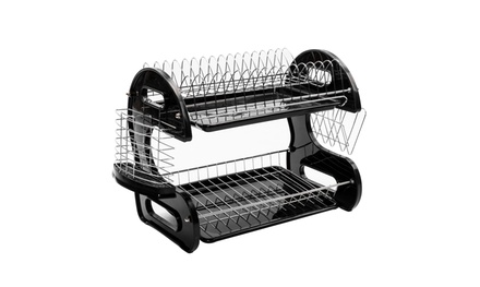 2-Tier Stainless Steel & Plastic Dish Drainer Drying Rack Set