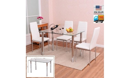 5 Piece Kitchen Breakfast Furniture Glass Dining Table Set w/4 Chairs