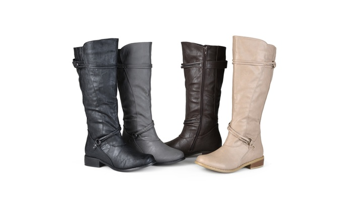 158d546370c Journee Collection Womens Wide-Calf Knee-High Ankle-Strap Riding Boots