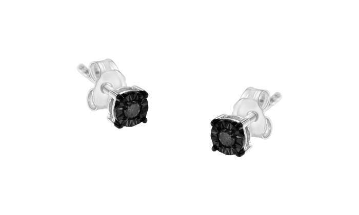 1//10 ct Blue /& White Diamond Stud Earrings in Sterling Silver-Plated Brass