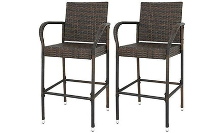 ZENY Set of 2 Wicker Barstool All Weather Dining Chairs Outdoor Patio Furniture