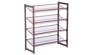 2/4 Tier Metal Shoe Rack Utility Storage Organizer Shelf For Closet Entryway