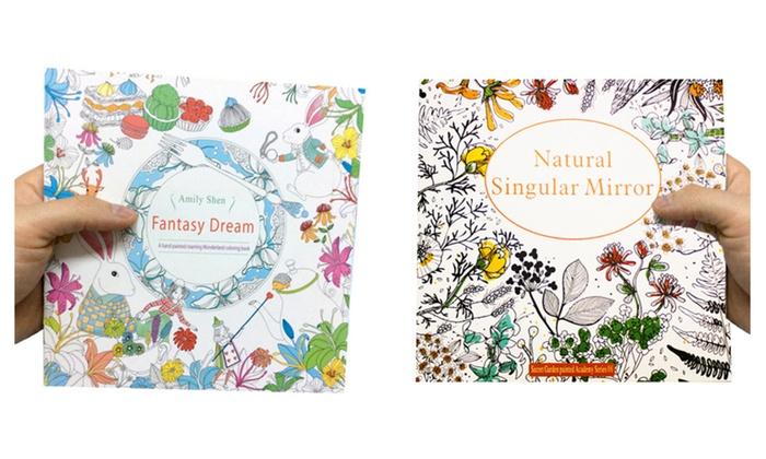 Adult Coloring Book Natural Singular Mirror Fantasy Dream 2 Pack