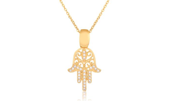 b915a7fe5616e Crystal Hamsa Pendant Necklace Made with Swarovski Elements