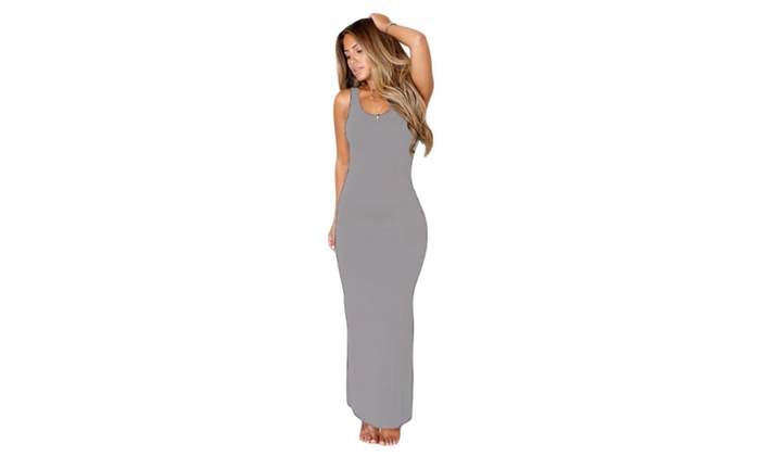 Women's Grey Hollowed Back Maxi Jersey Dress