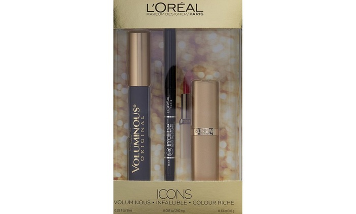 L'Oreal Makeup Kit with Voluminous Mascara, Eyeliner, and Lipstick