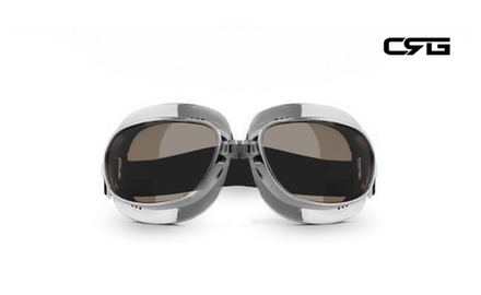 CRG Vintage Bike Aviator Style Motorcycle Cruiser Scooter Goggles T04ST