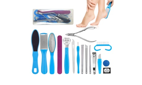 16Pcs Pedicure Tools Kit with Case Stainless Steel Foot Files Care Set