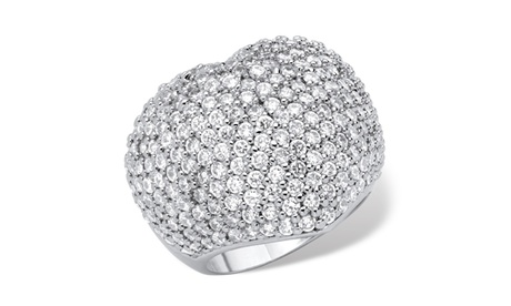 5.25 TCW Pave Cubic Zirconia Rhodium-Plated Heart-Shaped Ring d23263bc-3a96-438b-9498-5c547b3aa69a