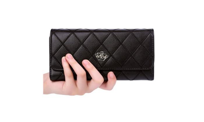Elegant Lady Clutch Crown Leather Wallet 8 Colours