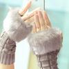 Women's Finger-Less Faux Fur Knitted Gloves