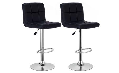 2 Bar Stools PU Leather Adjustable Barstool Swivel Pub Chairs Black af8a21ec-9ced-4cff-9bad-5772295ab957