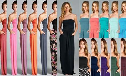 Women's Pocket Strapless Maxi Dress Made in USA