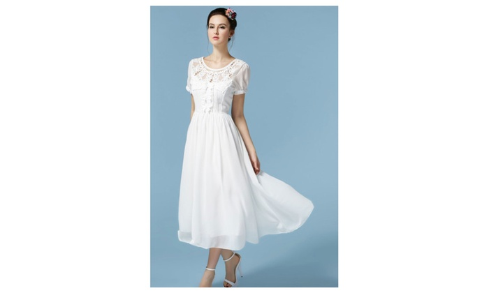 Women's Designed Round Neck Pleated Waist Chiffon Dress – JPWD207