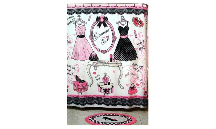 Glam Girl Pretty In Pink Fabric Shower Curtain And Bath Rug Set