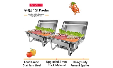 2 PACK 8 QT Kitchen Stainless Steel Full Size Rectangle Buffet Chafing Dish Was: $99 Now: $54.99.