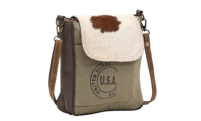 Myra Bag Usa Stamp Upcycled Canvas Cowhide Crossbody Bag S 1462 Groupon Myra provides a wide range of canvas, leather & hair on products. myra bag usa stamp upcycled canvas cowhide crossbody bag s 1462