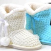 Sweater Knit Pom-pom Vegan Fur Girls Winter Warm Boots KIDS