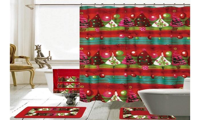 christmas bathroom decor 18 piece shower curtain set - Christmas Shower Curtain Set