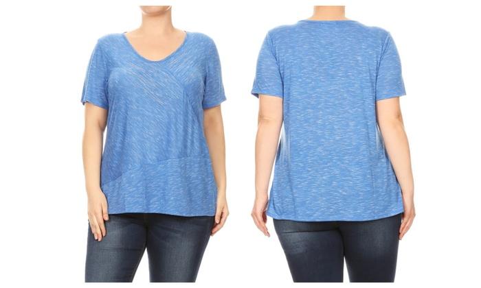 ec1bd26a08b Women Plus Size V-Neck Rhinestone Design Fashion Top Tee Blouse 1X-3X ...