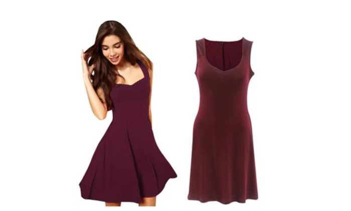 Fashion Retro Dance Dress Solid Casual Elegant Dress Lady Sleeveless