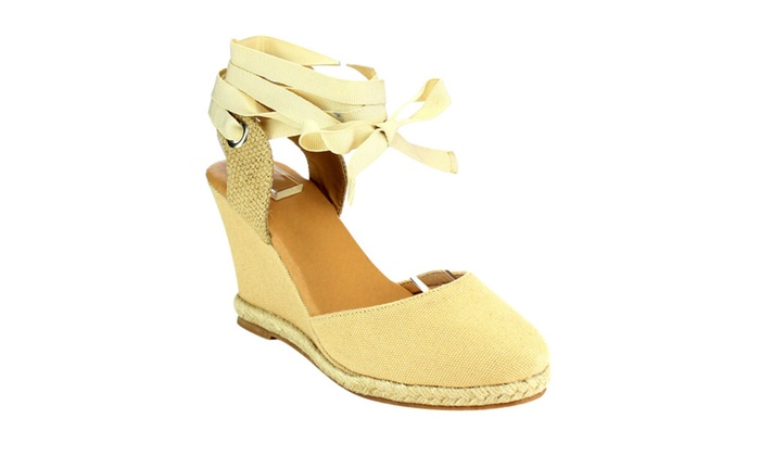 Beston CE04 Women's Platform Espadrille Lace Up Wedge Sandals Half A S