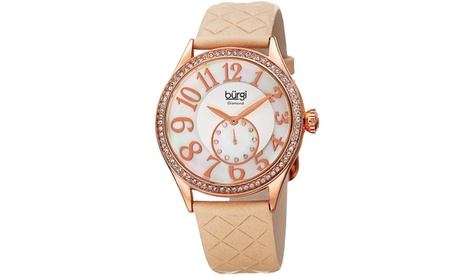 Burgi Women's Diamond Swarovski Crystal Leather Strap Watch BURGP141 338e7514-1f6f-4eb8-be55-f11f06018882