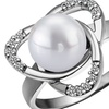 18K White Gold Plated Pearl Open Heart Cocktail Ring