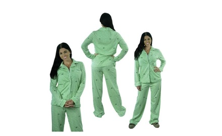 2-Piece Set: Vera Wang Sleepwear with Ribbon Detail - Mint Polka Dot