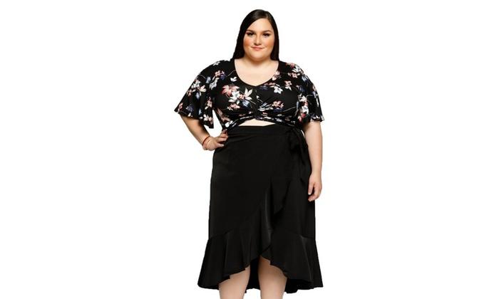 4239faac6e3 Xehar Women s Plus Size Tropical Floral Twist Front Crop Blouse Top ...